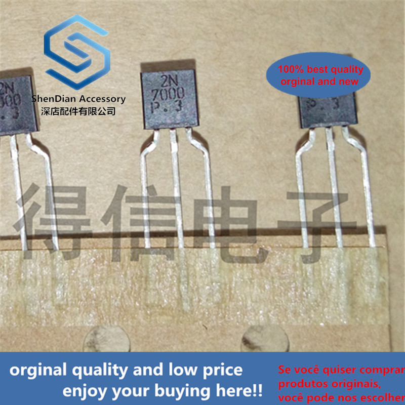 30pcs 100% Orginal New 2N7000 0.3A60V N-Channel 60-V (D-S) MOSFET TO-92 Real Photo