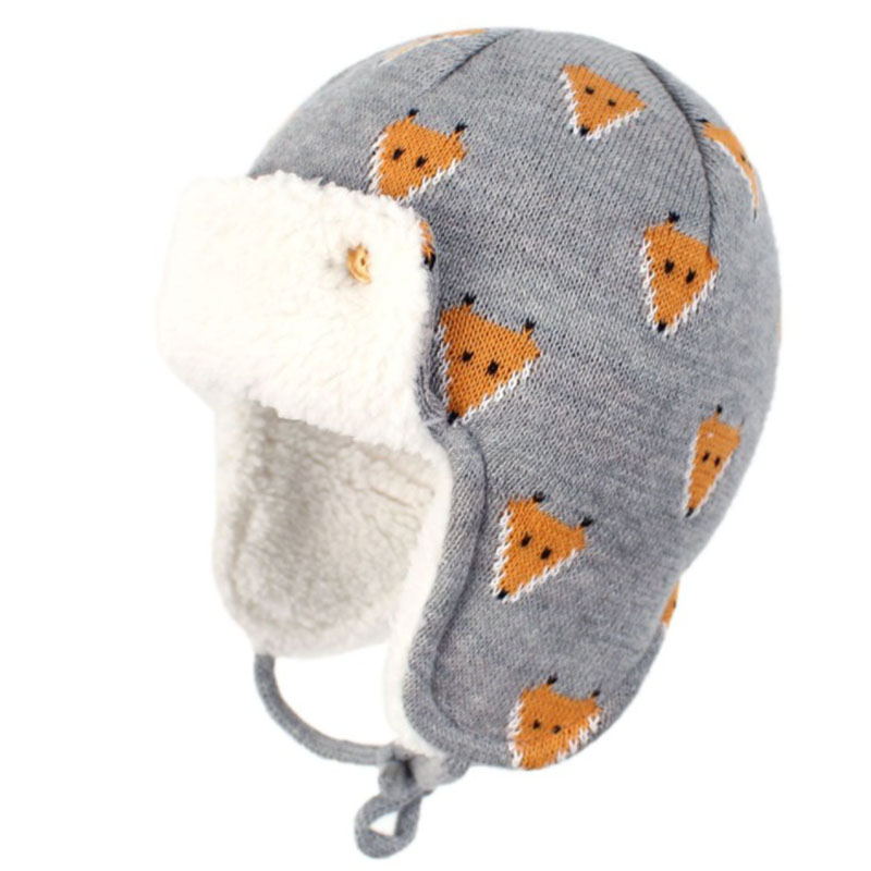 Baby Boys Girls Winter Warm Bomber Hats With Ear Flaps Kids Cartoon Cute Warm Caps Beanies Kintted Fleece Earmuffs Hats For 0-4Y