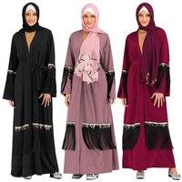 Women Sequins Tassel Abaya Open Kimono Long Maxi Dress Muslim Cardigan Jilbab Party Cocktail Arab Islamic Clothing Middle East