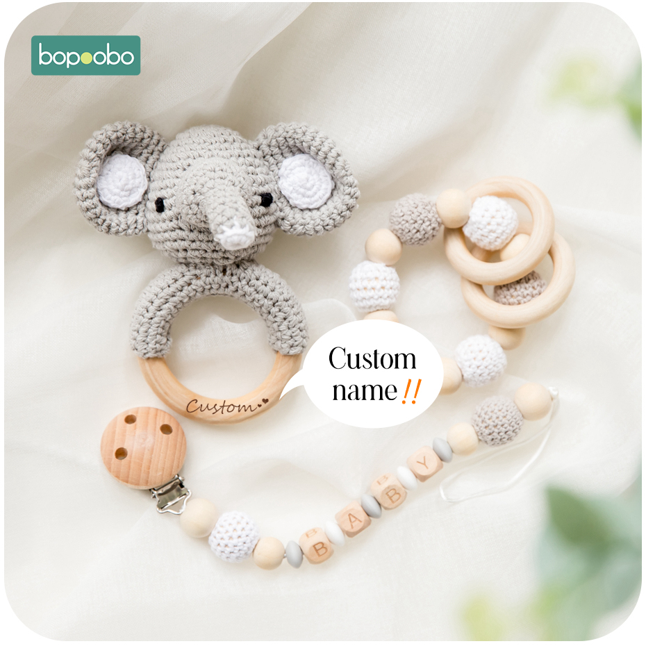 Baby Teether Wooden Toys Mobile Pram Crib Ring Crochet Rattle Soother Teether