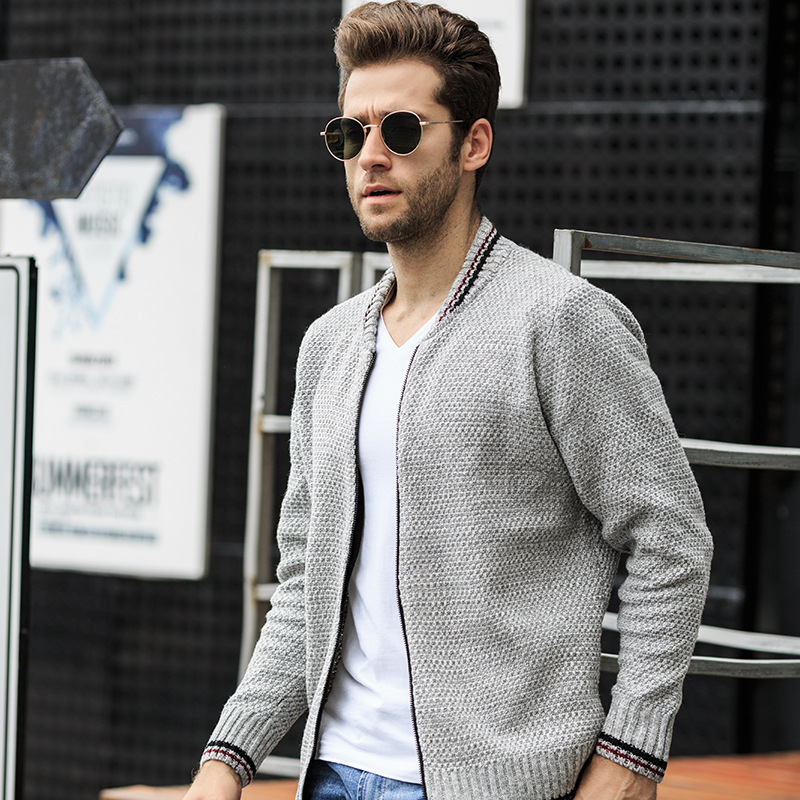 Stylish Men's Casual Cardigan Autumn Long Sleeve Knitted Sweater Coat Full Zipper Quality Outwear Comfy Plus Size Clothing