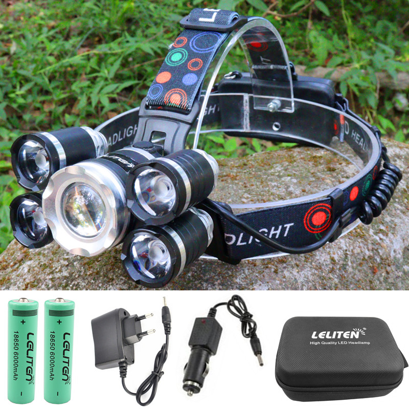 Powerful 5 LED T6 Camping Headlamp With Adjustable Headband for Ergonomic Design