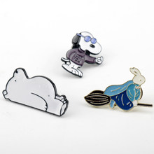 Fashion Enamel Animal Vorm Broche Sieraden Pins Leuke Cartoon Witte Beer Doggie Magic Konijn Ontwerp Revers Pin Voor Kid Vrouwen mannen(China)