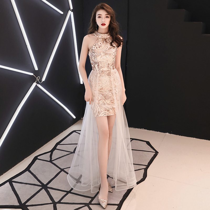 Golden Evening Dresses Female Queen 2019 New Aura Sexy Brief Paragraph Show Thin Birthday Party Party