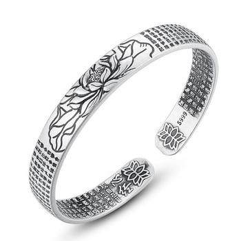 цена Vintage 925 Sterling Silver Amulet Buddha Lotus Baltic Buddhist Scriptures Thai Silver Cuff Bracelets & Bangles онлайн в 2017 году