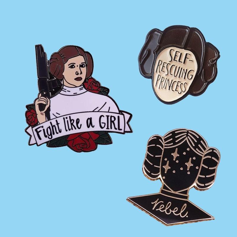 Принцесса Leia Феминистская Женская жесткая эмалированная брошь заколки значок на воротник заколки на лацкан Модные металлические ювелирны...