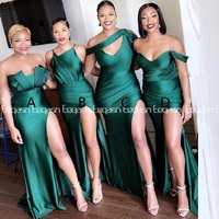 2020 African Emerald Green Bridesmaid Dresses Long Mermaid Style Wedding Party Dress Formal Dress For Women Plus Size