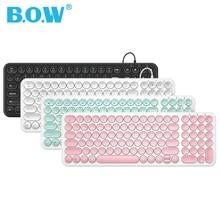 B.O.W سلك لوحة المفاتيح 96 مفاتيح مستديرة ، فائقة النحافة السلكية USB ميناء KB التوصيل والتشغيل كتابة مريحة للكمبيوتر/الكمبيوتر/الكمبيوتر المحمول/ماك