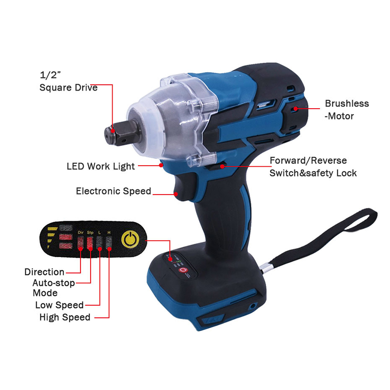 Brushless Electric Wrench Impact Socket Wrench 18V 520Nm For Makita Battery Hand Drill Installation 1/2 Socket Power Tool Wrench