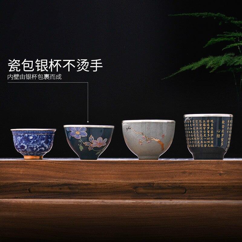 Sac en porcelaine argent 999 thé en argent sterling Kung Fu service à thé en argent bleu et blanc tasse à thé en porcelaine tasse en argent sterling