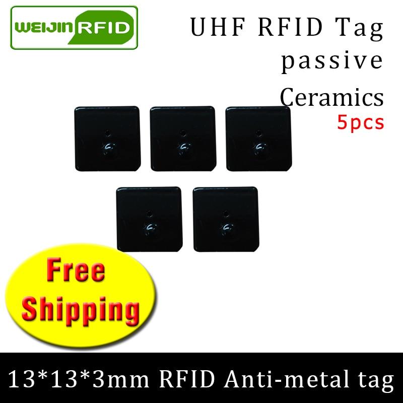 UHF RFID Metal Tag 915mhz 868mhz Alien Higgs3 EPC 5pcs Free Shipping 13*13*3mm Small Square Ceramics Smart Passive RFID Tags