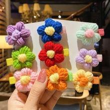 Детские милые разноцветные вязаные заколки для волос на осень