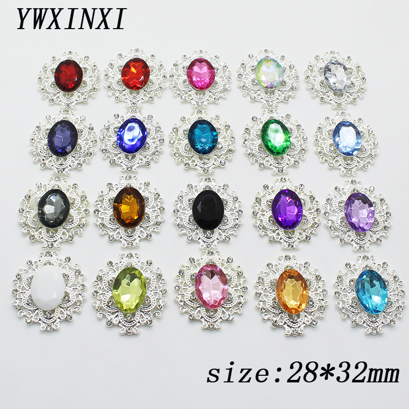 Fashion Hot 10Pcs 28*32mm Alloy Diy <font><b>jewelry</b></font> Accessories Flat Back Imitation pearls <font><b>Base</b></font> <font><b>Settings</b></font> Wholesale Handmade Fitting image