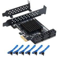 6/4 منفذ بطاقة SATA III PCIe ، PCIe SATA III بطاقة وحدة التحكم إلى 6 جيجابايت/ثانية محول داخلي محول PCI SATA 3.0 بطاقة التوسع
