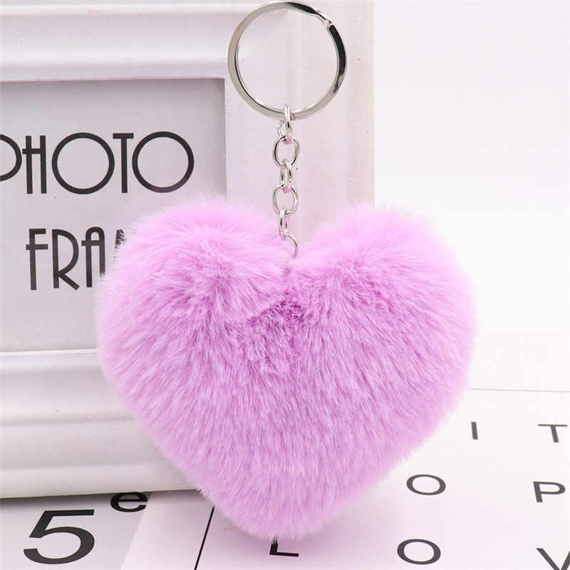 Sitaichery fofo pele pompom chaveiro cor sólida coração forma pompom falso coelho chaveiros para feminino chaveiro presente acessórios
