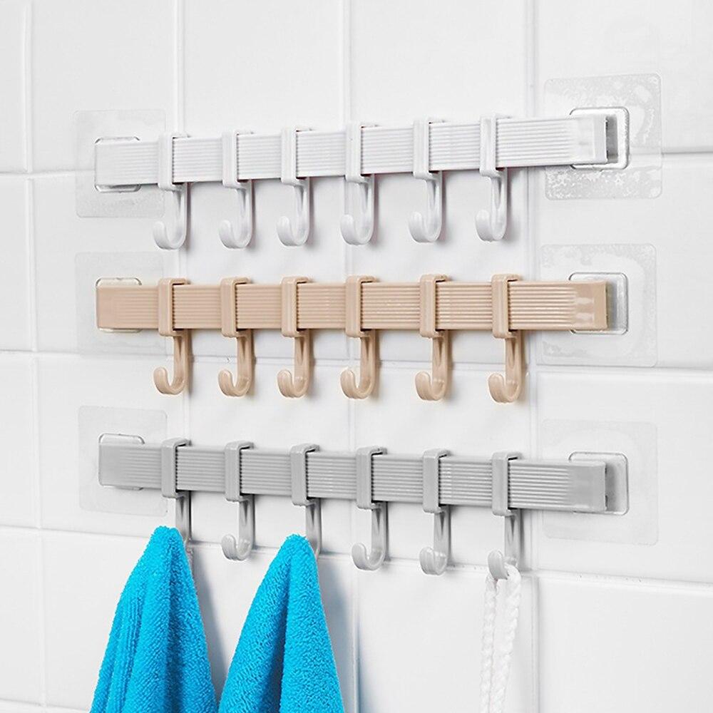 1Pcs Multifunctional 6 Hooks Kitchen Bathroom Storage Holder Hook Door Hanger Rack Holder Spoon Kitchen Spoon Bathroom Wall Hook