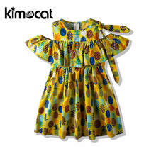 Kimocat 2020 New Arrival Summer Fashion Girls Dress Sleeveless Cotton Pineapple Fruit Print Children Party Pageant Dress Outfit kids pineapple print tie dress