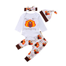 Thanksgiving Baby Boy Girl Clothes Cotton Bodysuit Long Sleeve Turkey Pants Hat 3pcs Holiday Party Outfits Clothing Set 0-4T(China)