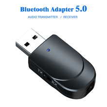 KEBIDU USB Bluetooth ses alıcısı verici Mini Stereo Bluetooth 5.0 ses AUX RCA 3.5mm Jack TV PC için kablosuz adaptörü