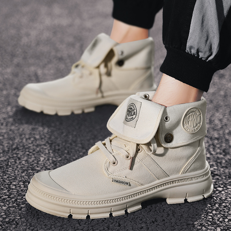 2019 summer new men's Martin boots fashion trend men's high boots breathable canvas shoes wild casual shoes
