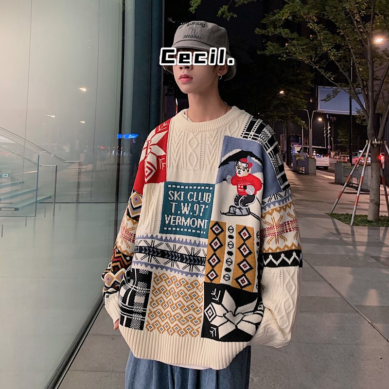 Women Sweater Autumn Winter Vintage Keep Warm Sweater Fashion O-Neck Full Thick Pullovers Couple Sweater 7
