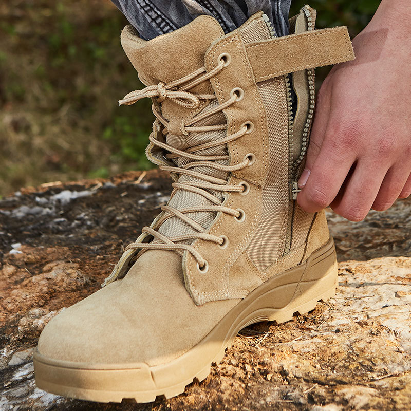 Amu Combat Boots Desert Boots Hight-top Tactical Boots Size Completed Sandy Color Combat Boots