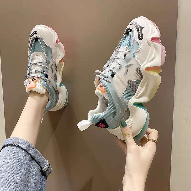 2020 Designers Women Chunky Sneakers Ulzzang Fashion Platform Casual Shoes Woman Tennis Female Sports Mesh Vulcanized Shoes 6cm