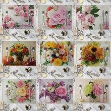 Rose Blume Muster Küche Tischset Dining Sonnenblumen Tisch Matte Trinken Coaster Baumwolle Leinen Bremsbeläge Schüssel Tasse Matten