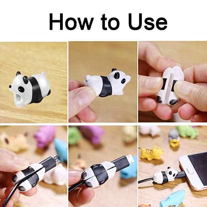 Karikatür Panda kediler köpekbalığı ısırığı kablo koruyucu veri hattı kablosu koruyucu kablo sarıcı kapak iPhone için USB şarj kablosu