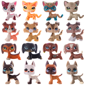 Mascota pequeña LPS de pelo corto, gatito, Collie, Dachshund, perro Gran Danés Español, modelo de figuras de acción, juguetes originales