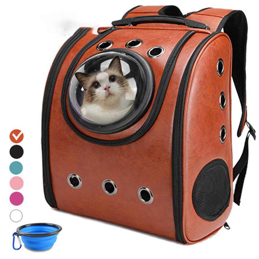 Portable Cat Backpack Durable Carrier Bags Travel Soft Capsule Bag Leather Double Shoulder Bags For Pet Cats Packaging Carrier