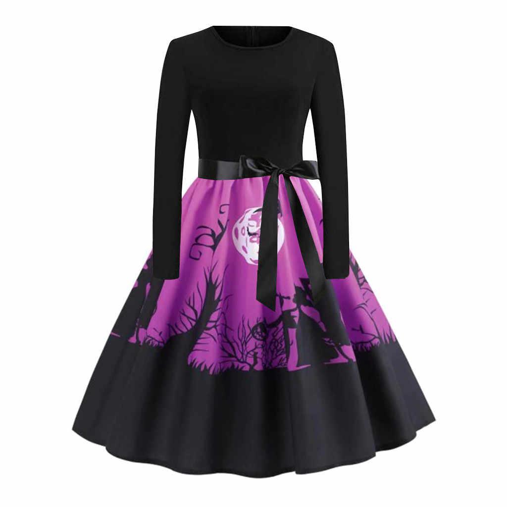 Женское платье на Хэллоуин, женское платье с длинным рукавом, платье на Хэллоуин, музыкальное Платье с принтом тыквы и черепа, винтажное расклешенное платье, большие размеры M840 #