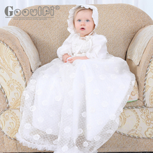 Gooulfi Baby Christening Dress Girl Newborn Floral White Dress Gown Outfit Lace Infant Girls Ruffled Satin Dress With Bonnet new arrival white ivory satin silk lace baby girl christening gowns newborn formal baptism robe long dress with bonnet