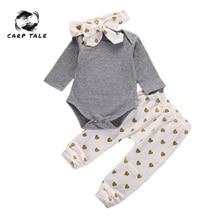3pcs Brand New Autumn Baby Girl Clothes Set Cotton T-shirt+pants+Headband Infant Newborn Clothing Sets