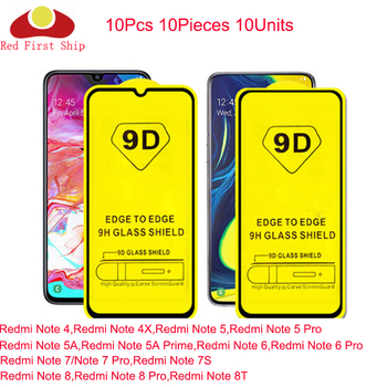 10Pcs 9D Tempered Glass For Xiaomi Redmi Note 8 8T 7 7S 6 4 5 Pro Full Cover Screen Protector For REDMI Note 5A Prime Movie Film