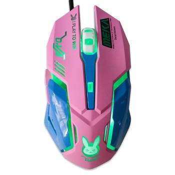 Ratón de juegos con cable USB-ratón profesional para deportes electrónicos, Mouse silencioso retroiluminado de colores de 2400 DPI para ordenador portátil Lol Data 5