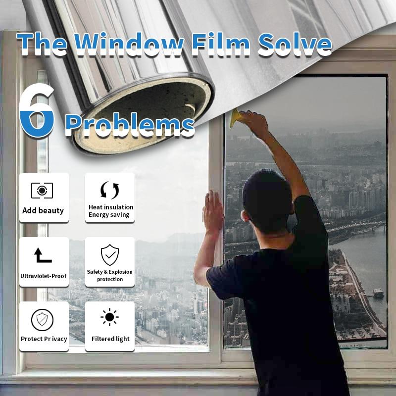 SUNICE 5 Sheet 100cm*100cm Pack Anti-UV One Way Mirror Solar Tint Privacy Window Glass Sticker Home Office  Self-adhesive Film