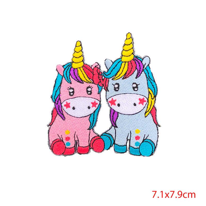 Prajna Cartoon Patch Eisen auf Patches Stickerei Einhorn Katzen Appliques für Kinder Kleidung DIY Streifen Aufkleber Niedlichen Abzeichen T-shirt