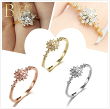 BOAKO Snowflake Ring Zircon 925 Sterling Silver Ring Dainty Wedding Engagement Rings For Women Rose Gold Party Girl anillos Z5 цены