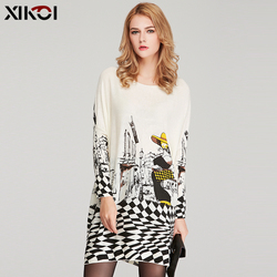 XIKOI ملابس الربيع المتضخم الشتاء البلوزات للنساء محبوك طباعة طويلة الصوف البلوفرات سحب فام الدافئة Batwing كم البلوز