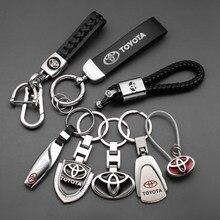 3D металлический Кожаный Автомобильный Брелок, автомобильный брелок для ключей для Toyota Chr rav4 Yaris hilux prius avensis Corolla Camry, автомобильные аксессуары