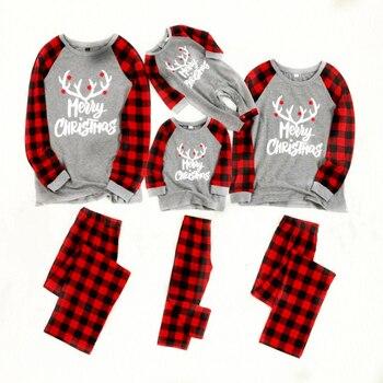Familia Navidad set de pijamas de algodón nuevo pijamas de Navidad pijamas niños ropa de dormir trajes de la familia de los hombres pijamas de las mujeres