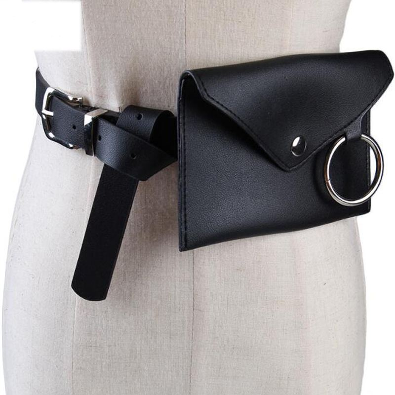 ABZC-Fashion New Women Waist Pack Femal Belt Bag Phone Pouch Bags Women Envelope Bags(Black)