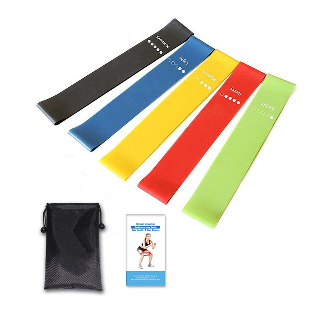Exercise Resistance Loop Bands Set Of 5 Workout Bands Fitness Equipment With Carry Bag For Legs Butt Arms Yoga Pilates