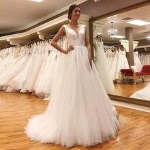 Соблазнительные Свадебные платья трапеции с v образным вырезом