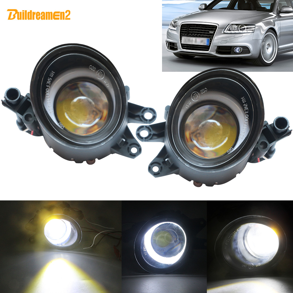 Buildreamen2 2 Pieces LED Angel Eye Fog Light Car Front Bumper Fog Lamp DRL White 12V For Audi A4 B6 B7 RS4