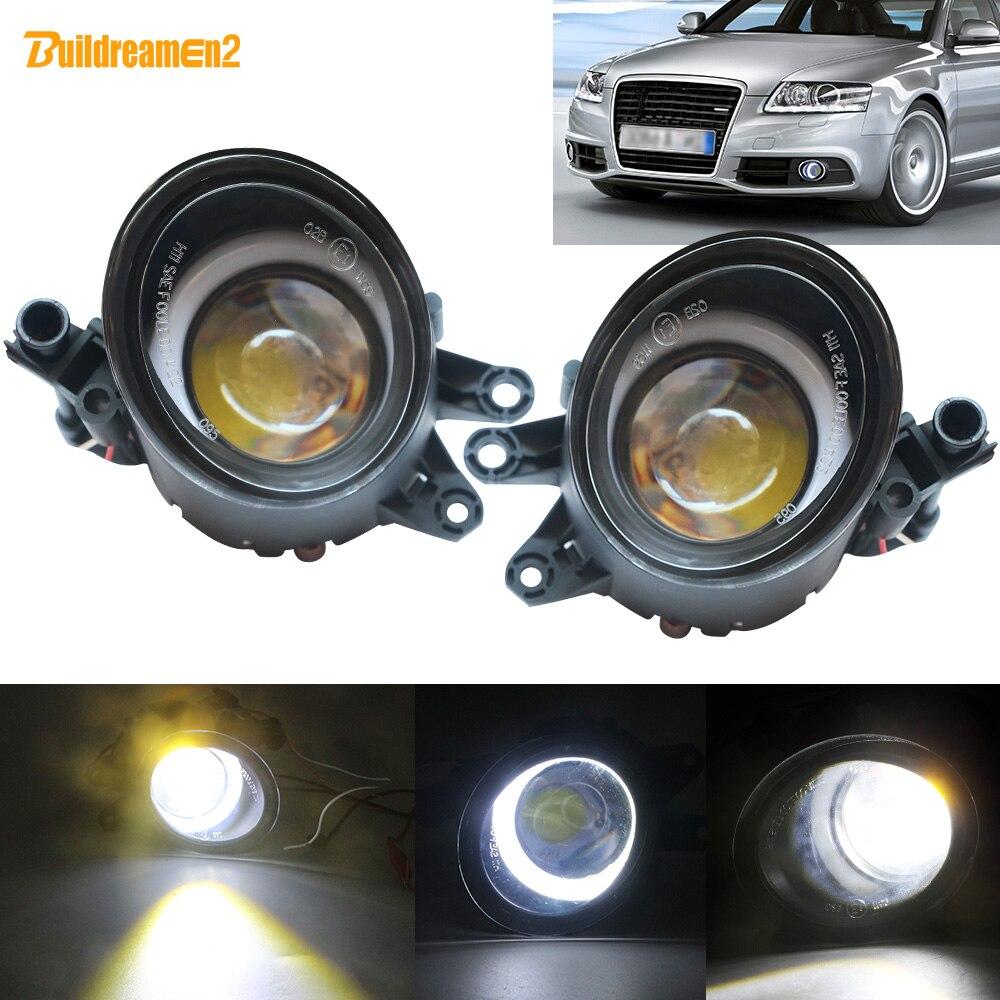 Buildreamen2 2 Pieces LED Angel Eye Fog Light Car Front Bumper Fog Lamp DRL White 12V For Audi A4 B6 B7 RS4