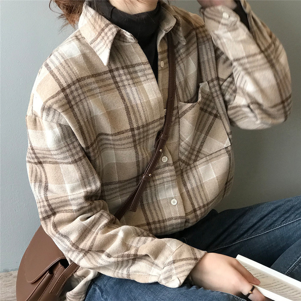 Spring Thick Loose cotton plaid Women blouses shirt 2020 female long sleeve Casual Warm women Blouse shirt office lady top Y0675 (6)