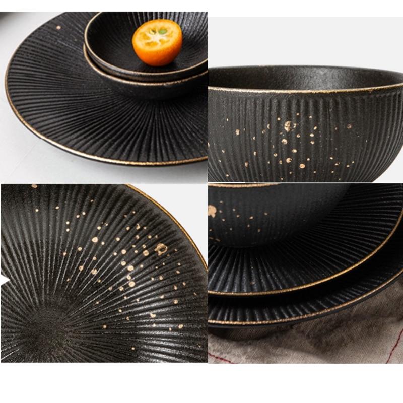 Phnom Penh Household Kitchen Tableware European Creative Steak Plate Black Ceramic Dishes Spoon  Bowl Dish Flatware Set 5