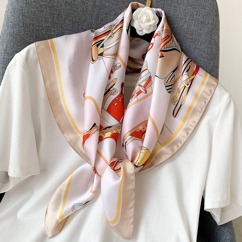 2020 Brand Foulard Women <font><b>Scarf</b></font> Fashion Print <font><b>Silk</b></font> <font><b>Scarves</b></font> Square Small Handkerchief Office Neck Hair Scarfs 70*<font><b>70cm</b></font> Bandana image